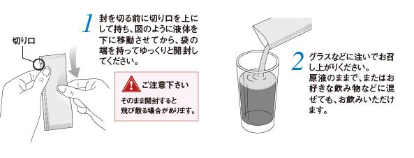 1) 封を切る前に切り口を上にして持ち、図のように液体を下に移動させてから、袋の端を持ってゆっくりと開封してください。ご注意ください そのまま開封すると飛び散る場合があります。 2)グラスなどに注いでお召し上がりください。原液のままで、またはお好きな飲み物などに混ぜても、お飲みいただけます。