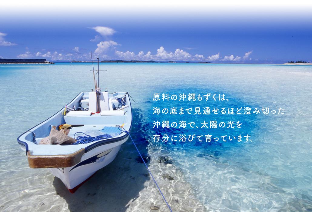 原料の沖縄もずくは、海の底まで見通せるほど澄み切った沖縄の海で、太陽の光を存分に浴びて育っています。